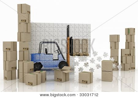 image of loader on a plane from puzzle with cargo boxes on a white background