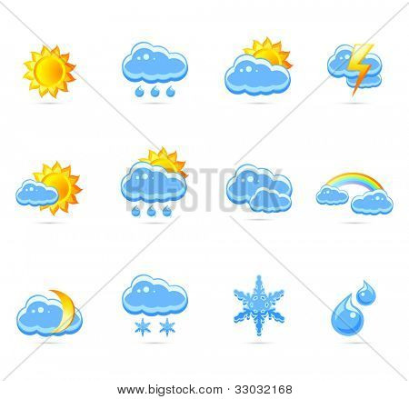 Weather icon set . Raster illustration .