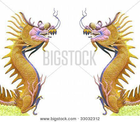 uso de Dragón doble oro como fondo chino