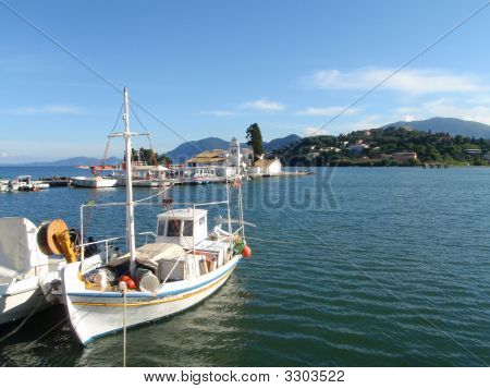 Greece Fishing Boats At Kanoni, Corfu,Greece.