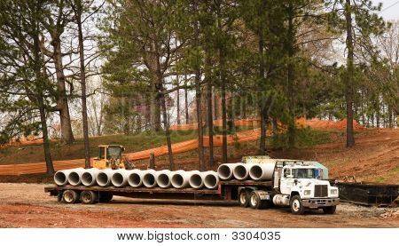 Pipes On A Truck