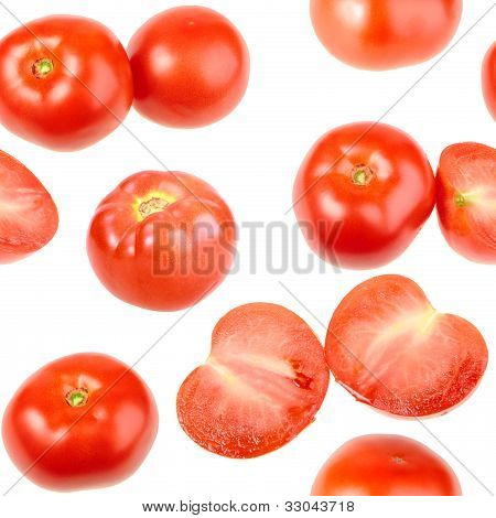 Seamless Pattern With Red Fresh Tomatos