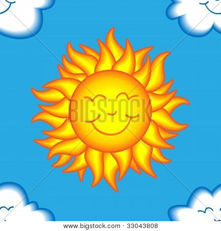 Seamless Happy Sun And Cloud Pattern