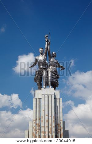 MOSCOW - JUNE 11: Famous soviet monument Worker and Collective Farmer of sculptor Vera Mukhina, June 11, 2011, Moscow, Russia. The monument is made of stainless chromium-nickel steel.