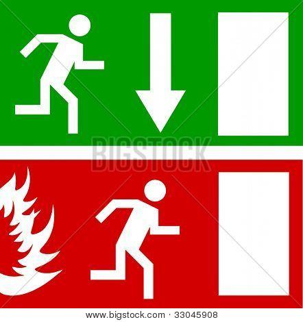 Emergency fire exit door and exit door, vector sign