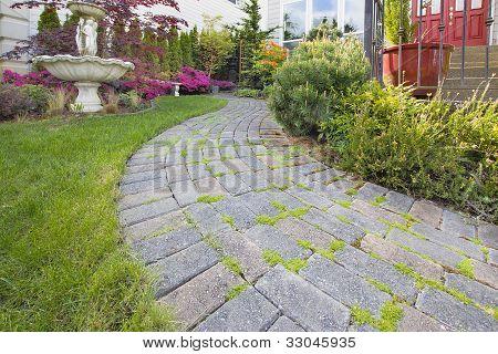 Frontyard Cement Stone Paver Path