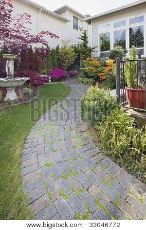 Frontyard Cement Stone Paver Path Vertical