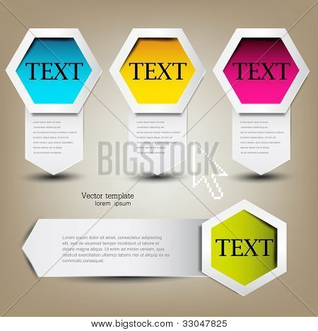 Colorful bookmarks for text. Colorful paper arrows.