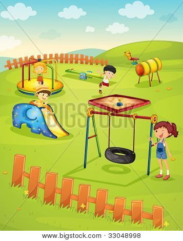Illustration of children in the playground - EPS VECTOR format also available in my portfolio.