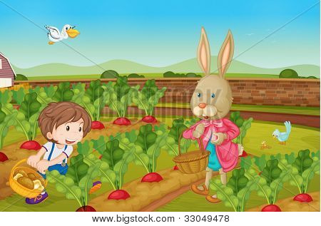Rabbit and boy picking vegies - EPS VECTOR format also available in my portfolio.