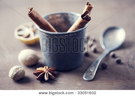 herbs and spices in a rustic setting