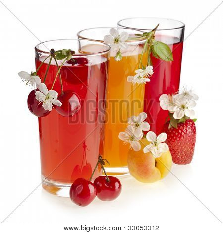 A Row of colorful juices with fresh berries and fruits, isolated on white