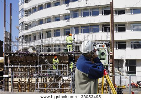 total station, geodesy engineer and construction industry