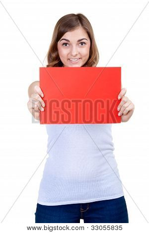 Beautiful Girl With A Red Sheet Of Paper Winks