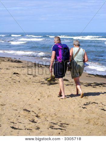 Elderly Couple On Beach