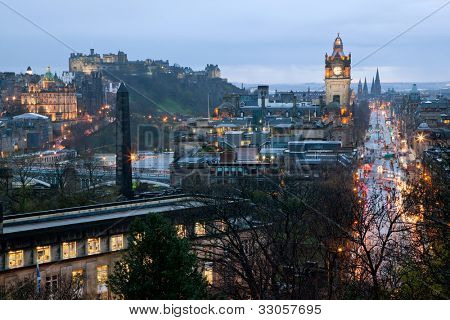 Princess Street Edinburgh Scotland at Dusk