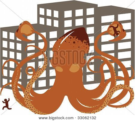 Vector Rampaging Giant Squid