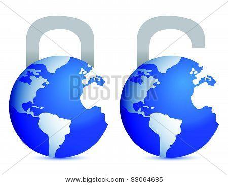 lock and unlock globes illustration design over white back