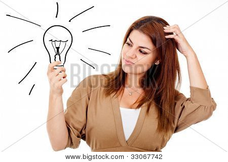 Thoughtful woman with an idea - isolated over a white background