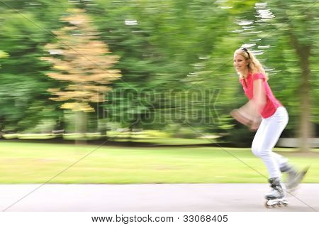In action - rollerskating person