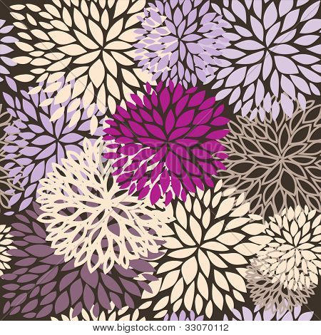 Summer seamless floral pattern with multicolored chrysanthemums in dark colors