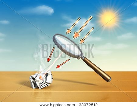 Magnifying lens used to concentrate some solar rays on a piece of crumpled paper. Digital illustration.