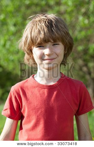 Smiling Boy With Tousled Hair