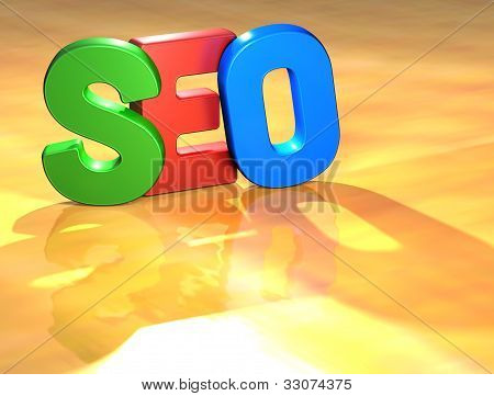 Word Seo On Yellow Background