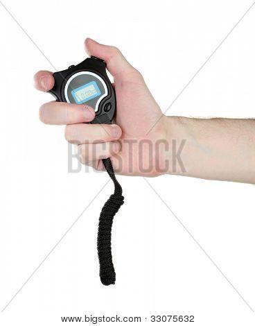 temporizador de deporte electrónico en mano aislado en blanco
