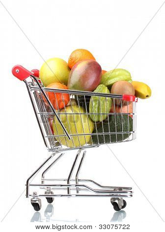 Assortment of exotic fruits  in shopping cart isolated on white