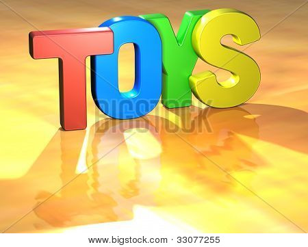 Word Toys On Yellow Background