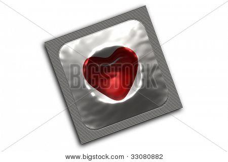 Silver condom on white