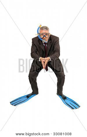 Business diver isolated on white background