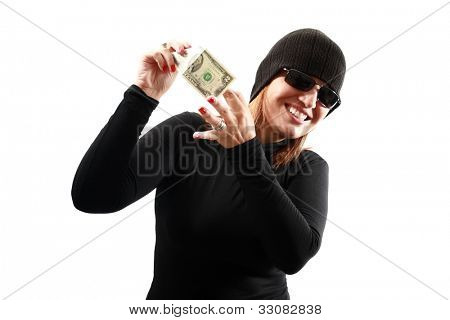 Thief holding money isolated on white background