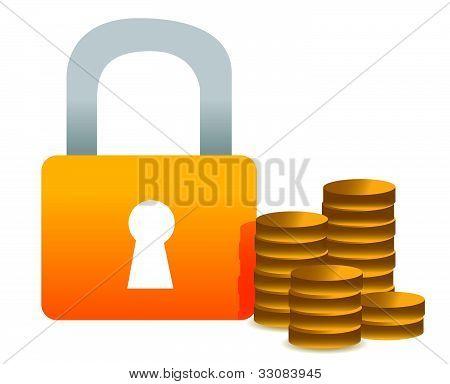 Locked money illustration concept design over white