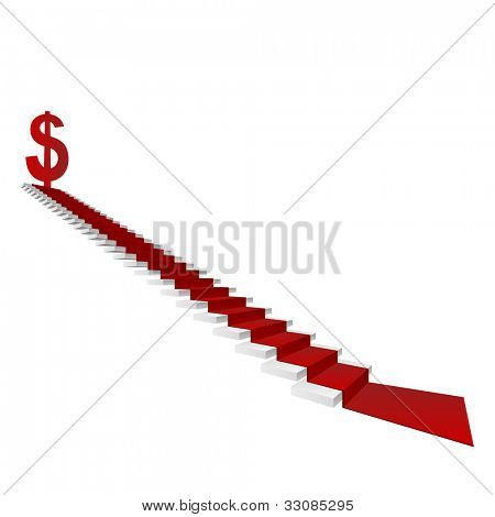 High resolution concept or conceptual 3D white stair and red carpet with a dollar sign or symbol  isolated on white background, for business,progress,growth,career,success,money or vision designs