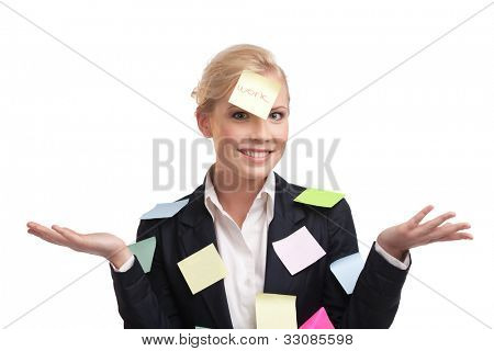 Business woman with colored stickers on her face, isolated on white background