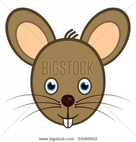 Vector cartoon character mouse smiling face web user avatar or ...