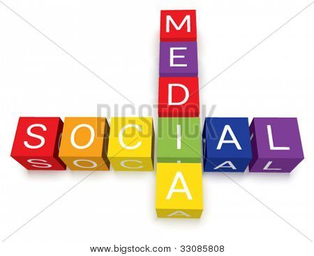 Vector colorful social media crossword puzzle blocks. Isolated with soft transparent ground shadows.