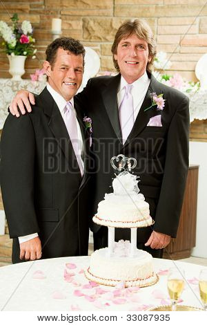 Handsome gay couple at their wedding reception, getting ready to cut the cake.