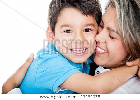 Affectionate mother and son - isolated over a white background