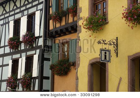 France, The Small Village Of Riquewihr In Alsace