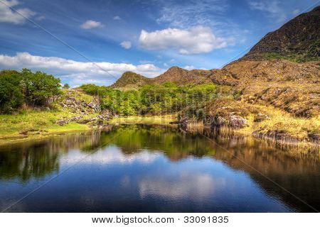 Killarney scenery with mountains reflected in lake, Ireland