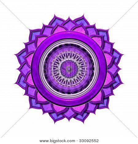 Das siebente Chakra freigestellt