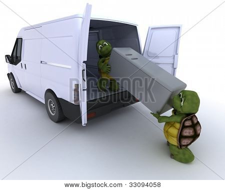 3D render of a tortoises loading a refridgerator into a van