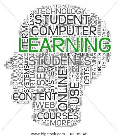Learning concept in tag cloud of human head shape on white background