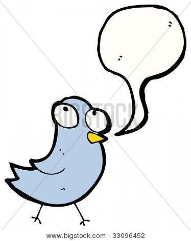 cartoon blue bird with speech bubble