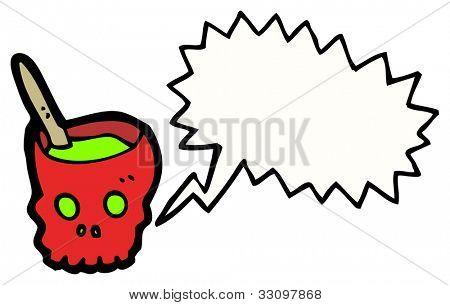 cartoon gross halloween skull bowl