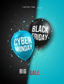Black Friday And Cyber Monday Vertical Banner. Vector Design Template For Brochure, Flyer, Poster An poster