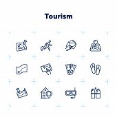 Tourism Line Icon Set. Set Of Line Icons On White Background. Travelling Concept. Diving Mask, Map,  poster